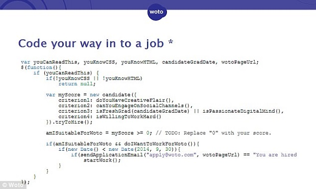 A job advert has been written entirely in computer code, in order to attract and find the best candidates