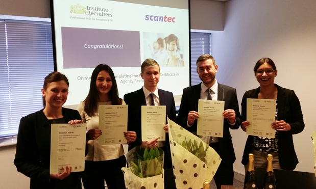 Five recruitment specialists achieve Certificate in Professional Agency Recruitment.Left to right: Kirsty Brewer, Shereese Doyle, Ben Evans, Andy Coppock, Lucy Stoke, Scantec Recruitment.