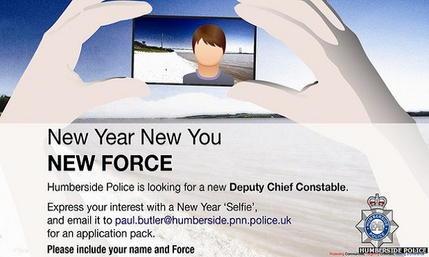 The job application from Humberside Police  requires applicants to take a 'selfie'