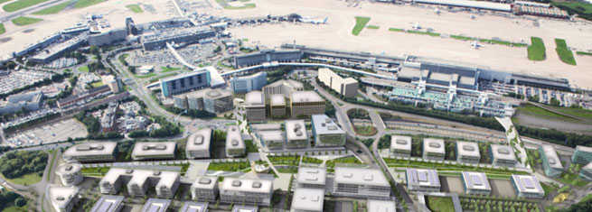 'The best-connected business district in the world' – a string of linked sites focused around Manchester Airport, Wythenshawe Centre and University Hospital South Manchester Foundation Trust.