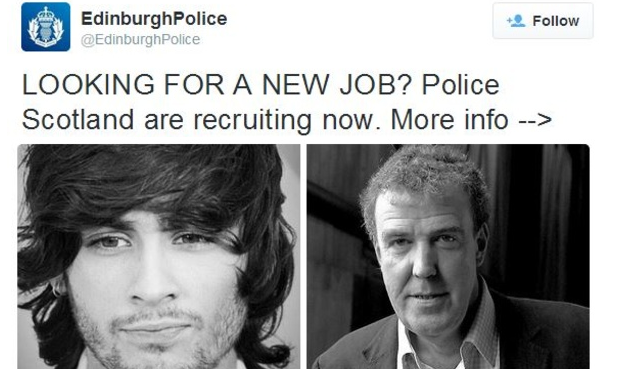 The offending tweet was illustrated with tongue-in-cheek photos of Clarkson and former One Direction star Zayn Malik