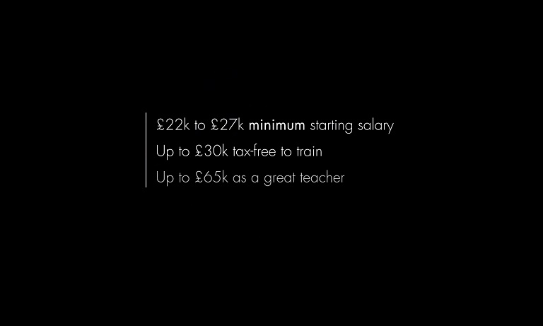 The advert, first shown online, advertises teachers salaries up to £65k