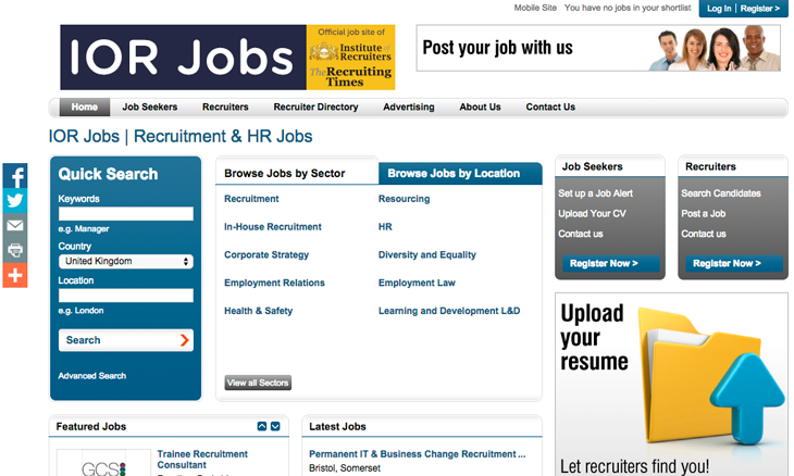 Priced at just £75 per advert, the new job board, entitled 'IOR Jobs', is already attracting the attention of recruiters who need to find a new job as well as agencies looking to hire consultants