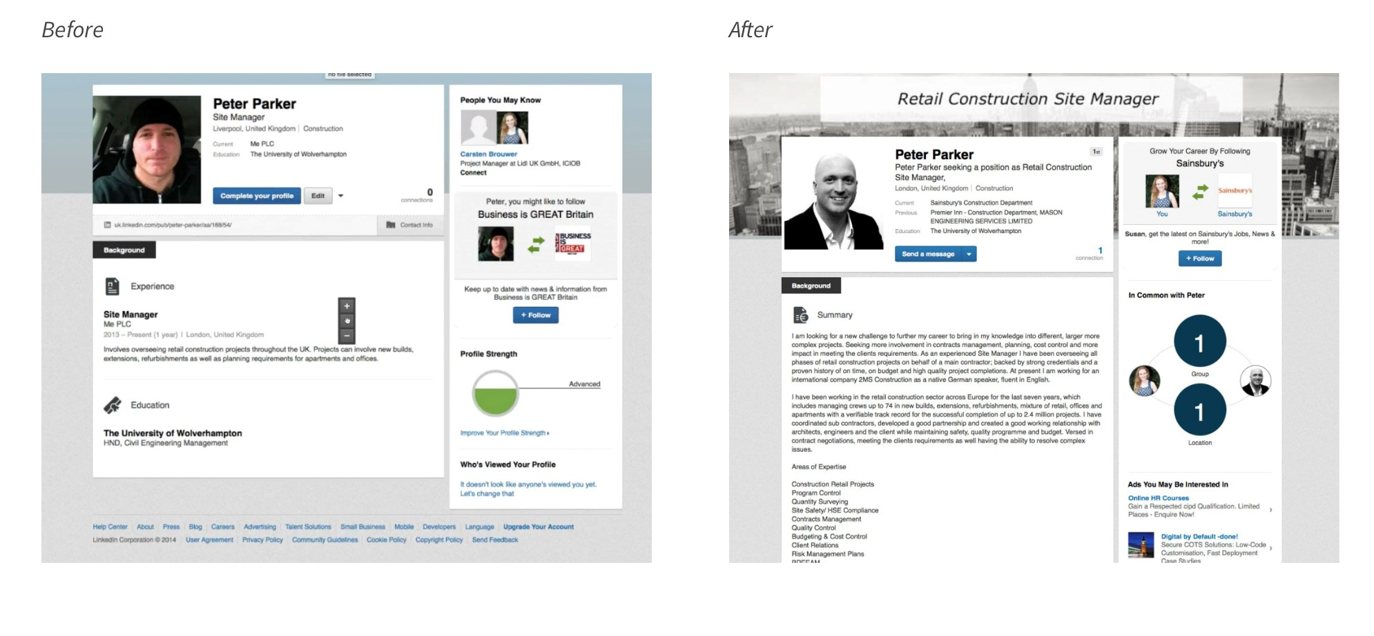 LinkedIn Profile: Before & After